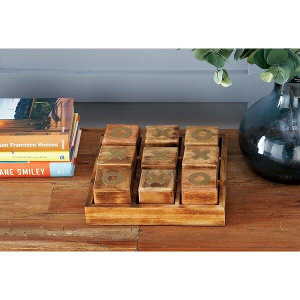 Wood 9 Piece Tic Tac Toe Box Set by Mercury Row