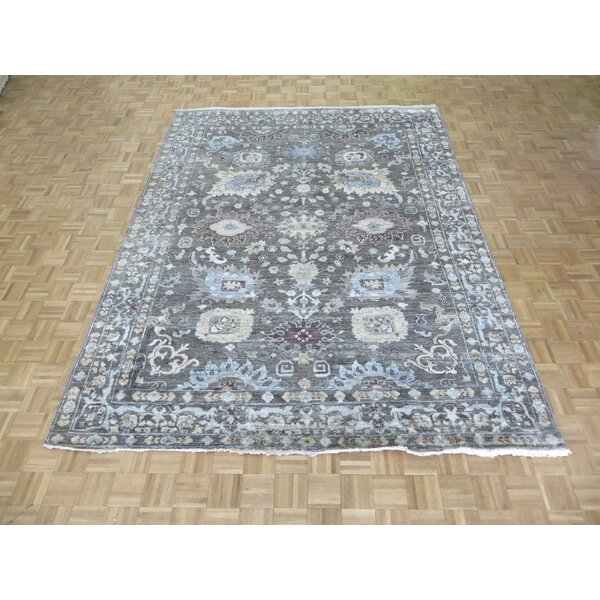 One-of-a-Kind Josephson Oushak Hand-Knotted Silk Gray Area Rug by Canora Grey