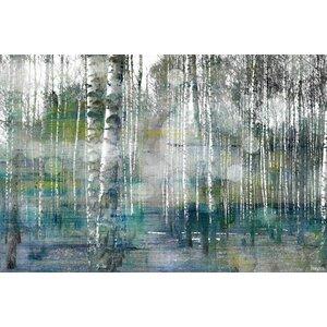 'Tree Trunk Lights' by Parvez Taj Acrylic Painting Print on Canvas by Parvez Taj