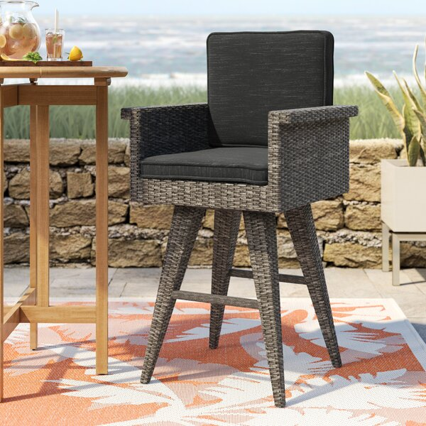 Washington Outdoor Wicker 30 Patio Bar Stool with Cushion by Rosecliff Heights