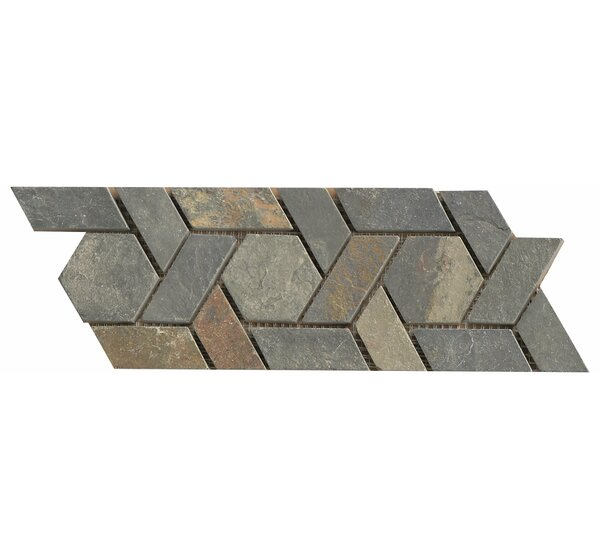 12 x 4.75 Stone Mosaic Liner Tile in Multicolor by Bedrosians