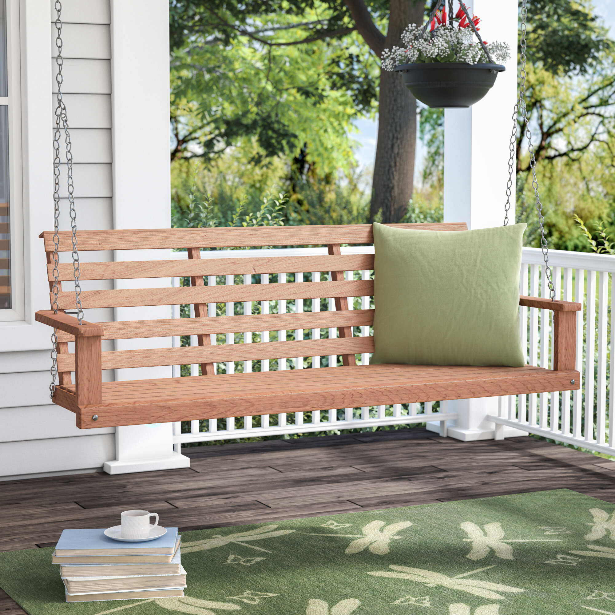 Wood Porch Swing All Weather Curved Back Patio Garden Painted Outdoor Furniture