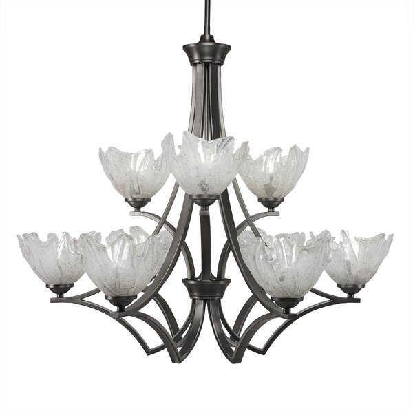 Cambridge 9-Light Shaded Tiered Chandelier by World Menagerie World Menagerie