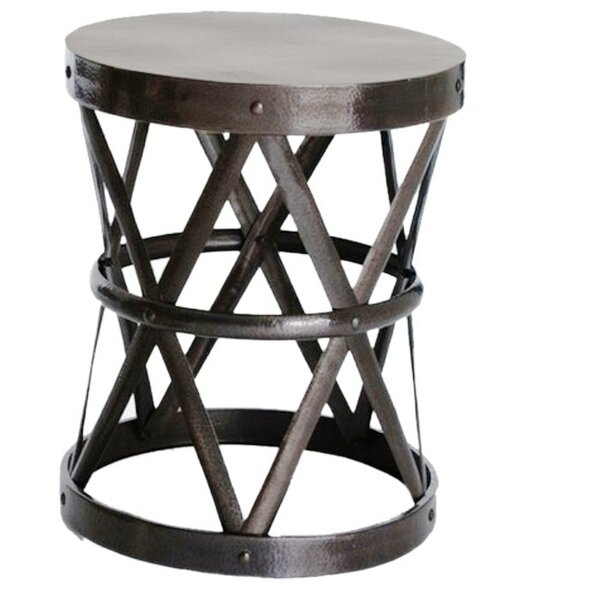 Hammered Drum Cross End Table by Fashion N You by Horizon Interseas