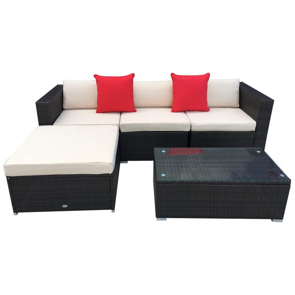 5 Piece Sectional Seating Group with Cushions by Outsunny