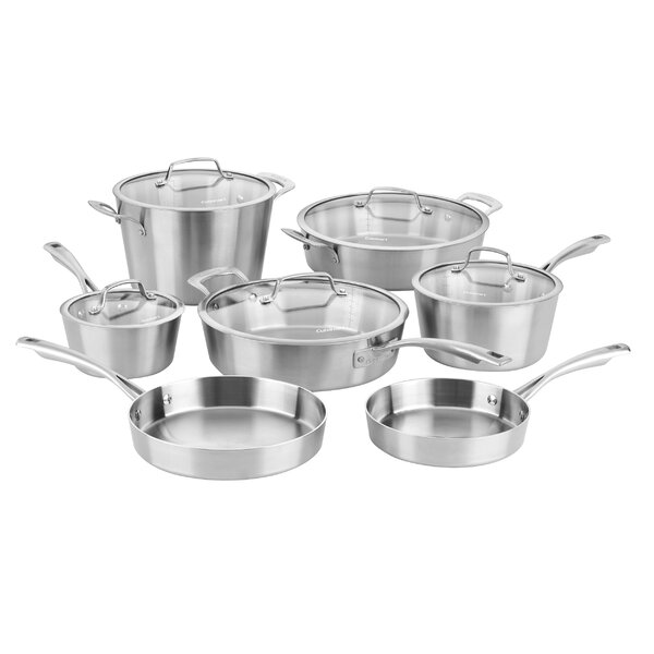 12 Piece Multi-Clad Conical Tri-Ply Stainless Steel Cookware Set by Cuisinart