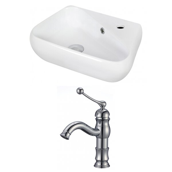Ceramic 18 Wall Mount Bathroom Sink with Faucet and Overflow