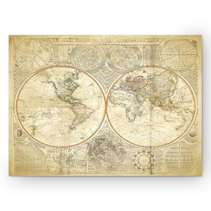 'Vintage World Map II' Graphic Art Print on Wrapped Canvas in Beige by Wexford Home