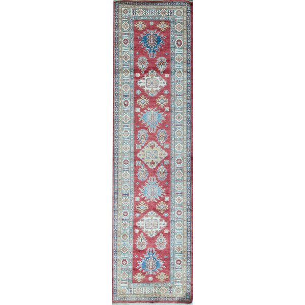 Runner Southwestern Hand-Knotted Wool Red/Ivory Area Rug
