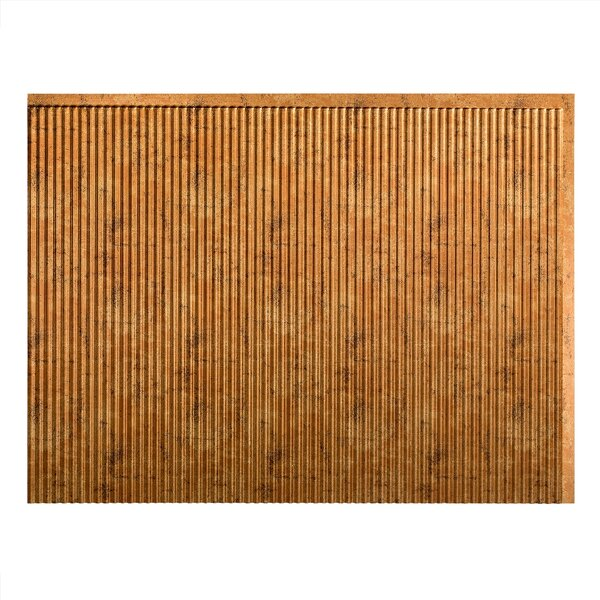 Rib 1.5 ft. x 2 ft. PVC Backsplash Panel in Muted Gold by Fasade