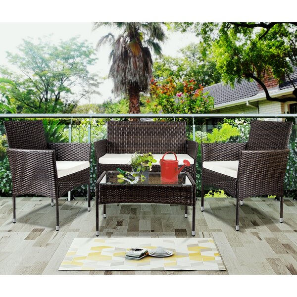 Beaverdam 4 Piece Rattan Sofa Seating Group with Cushions by Latitude Run