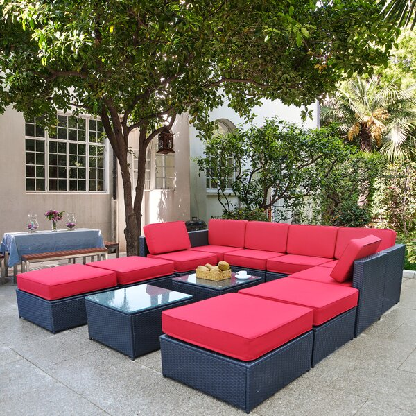 Sidmouth Outdoor 12 Piece Rattan Sectional Seating Group with Cushions by Ivy Bronx