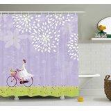 Girl Riding Bike Shower Curtain + Hooks by East Urban Home