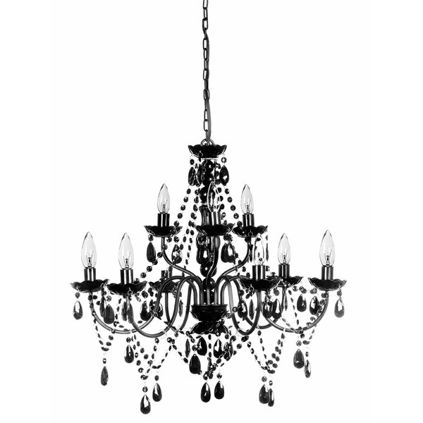 Hilburn 9 - Light Candle Style Traditional Chandelier with Acrylic Crystal Accents by House of Hampton House of Hampton