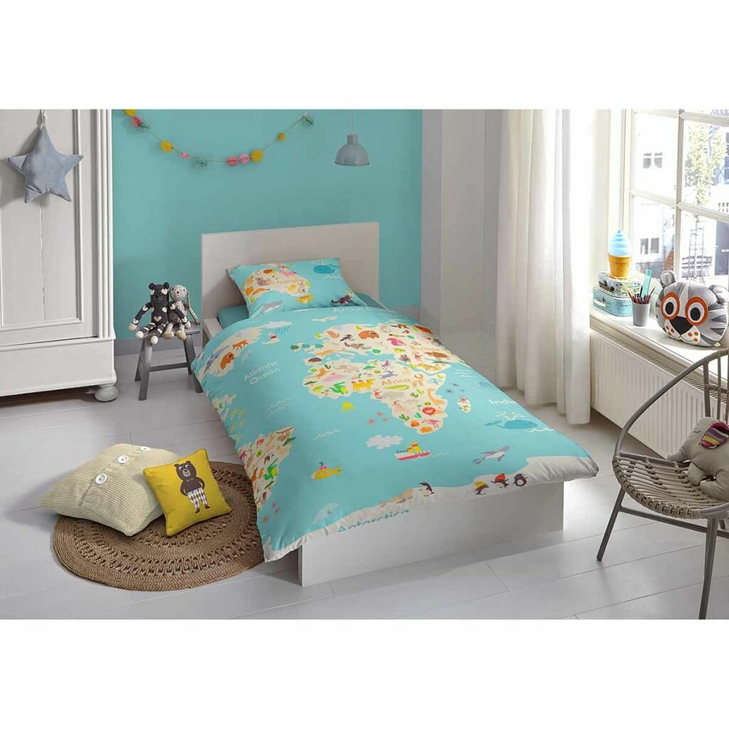 Good Morning World Map Duvet Cover Set