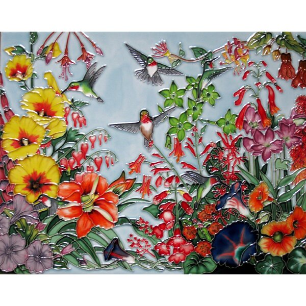Horizontal Hummingbird and Flower Tile Wall Decor by Continental Art Center