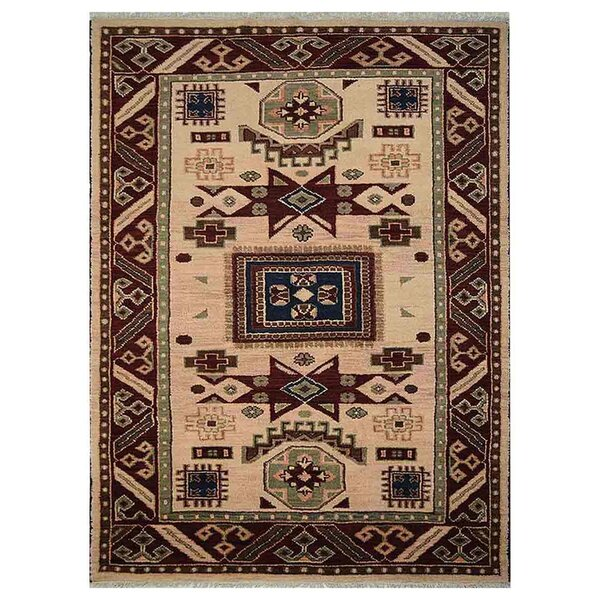 Corrin Hand-Knotted Cream/Burgundy Area Rug by Bloomsbury Market