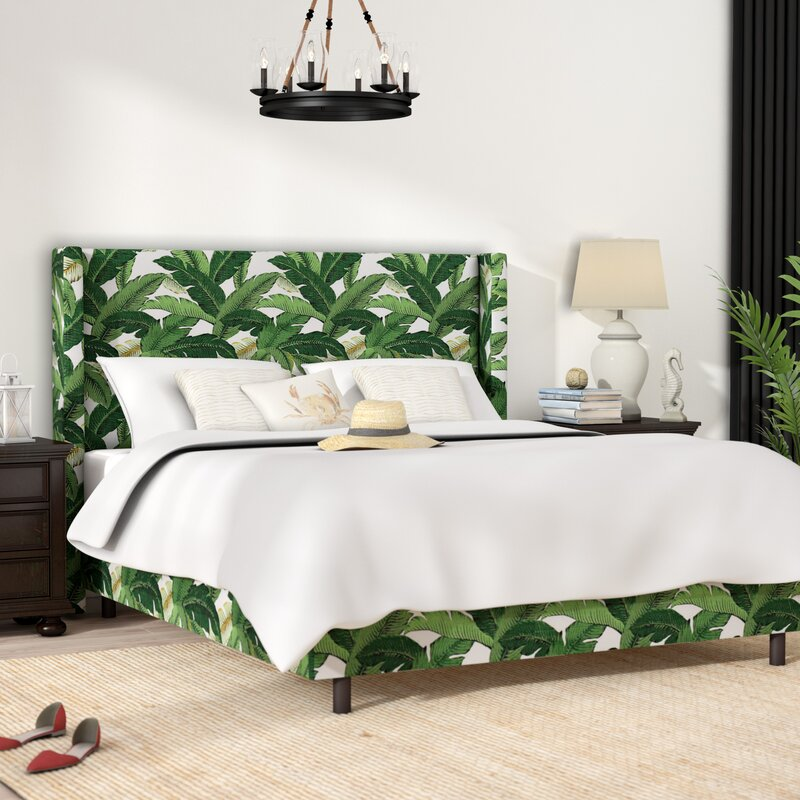 Promfret Swaying Palm Aloe Upholstered Standard Bed