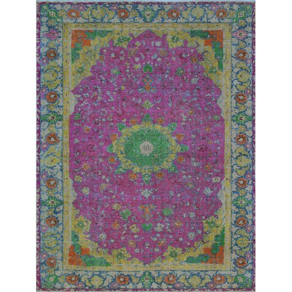 Butlerville Vintage Distressed Overdyed Hand Knotted Wool Purple Area Rug by Bloomsbury Market
