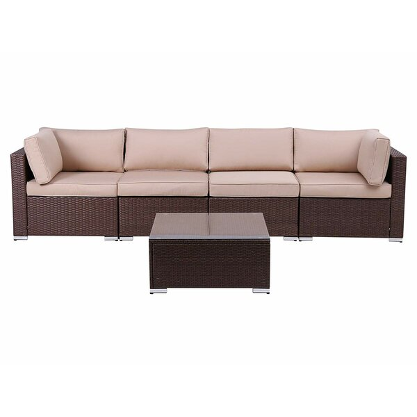 Ramadan Outdoor 5 Piece Rattan Sectional Seating Group with Cushions by Latitude Run