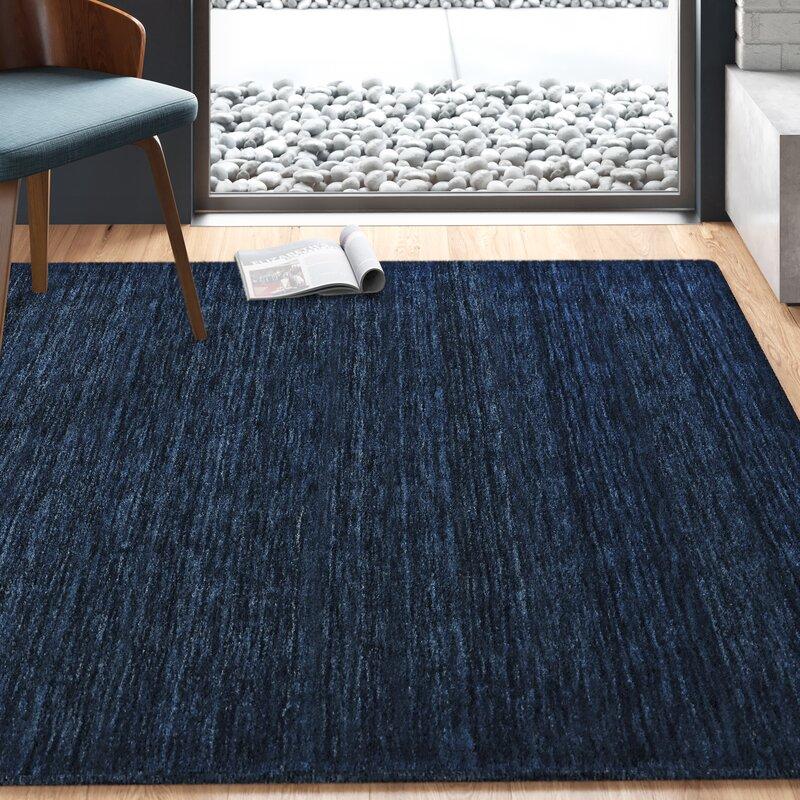 Benjy Handwoven Wool Dark Blue Area Rug Reviews Allmodern