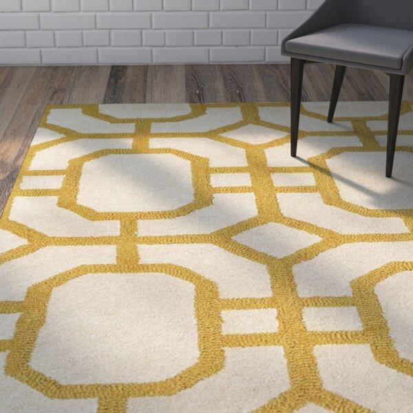 Rentz Yellow/Ivory Area Rug by Brayden Studio