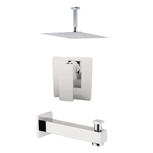 Milan Diverter Dual Function Volume Control Tub And Shower Faucet With Rough-in Valve And Trim By Aquamoon