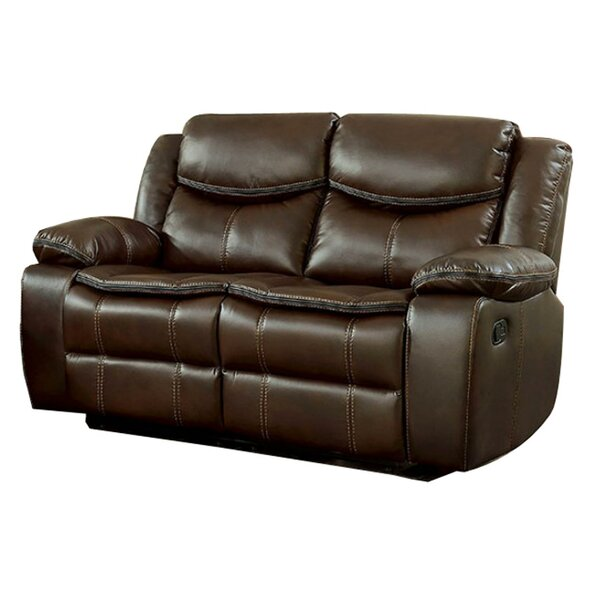 New Trendy Helmer Leather Reclining Loveseat by Red Barrel Studio by Red Barrel Studio