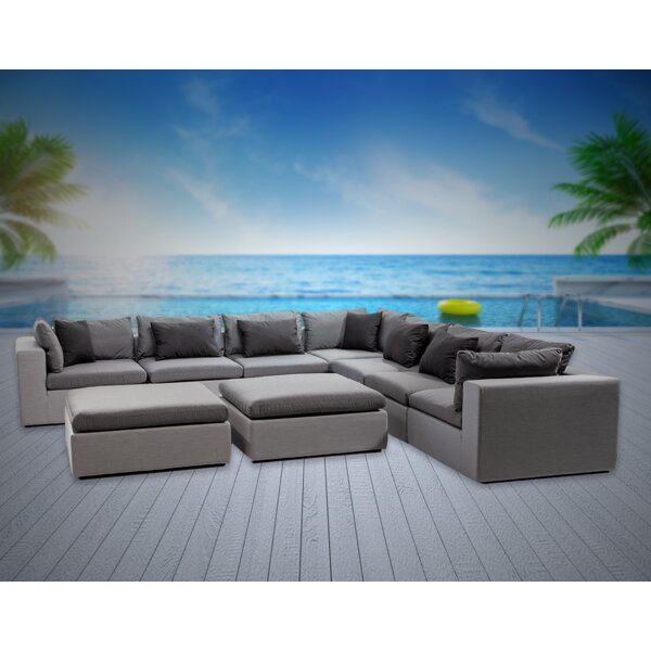Malani 9 Piece Sunbrella Sectional Seating Group with Sunbrella Cushions by Brayden Studio
