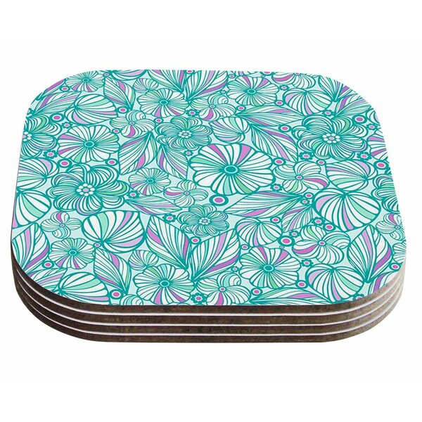 My Turquoise Flowers by Julia Grifol Coaster (Set of 4) by East Urban Home