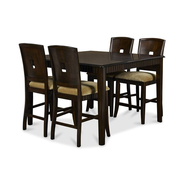 Planterra 5 Piece Counter Height Extendable Solid Wood Dining Set by Red Barrel Studio Red Barrel Studio