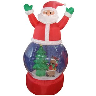 santa claus snow globe lighted christmas inflatable