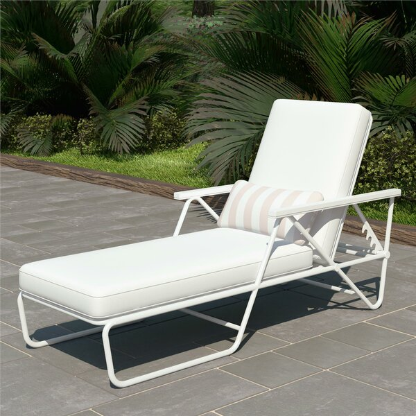 Connie Outdoor Reclining Chaise Lounge with Cushion by Novogratz