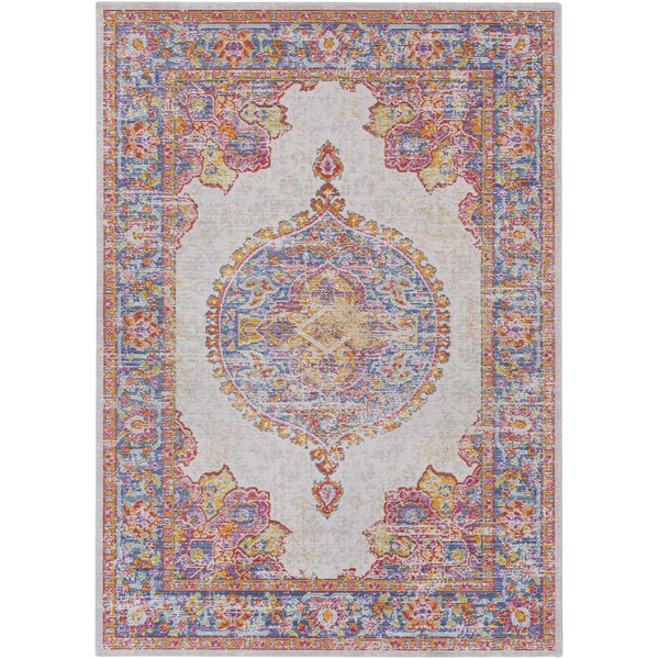 Kahina Traditional Vintage Distressed Oriental Pink Area Rug by Bungalow Rose