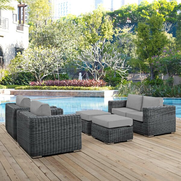 Alaia 5 Piece Rattan Sunbrella Sectional Seating Group with Cushions Brayden Studio BRSU4361