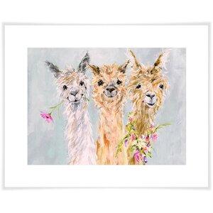 'Sweet Alpacas' Acrylic Painting Print by East Urban Home