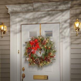 Tartan Plaid Wreath With 50 White Led Lights