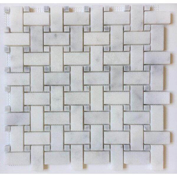 1 x 2 Marble Mosaic Tile in Bianco Venantino by Ephesus Stones