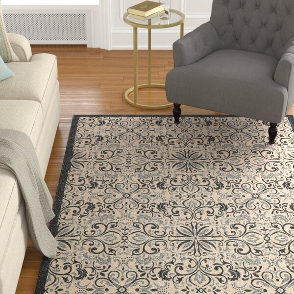 Ashby Ivory/Charcoal Indoor/Outdoor Area Rug by Charlton Home