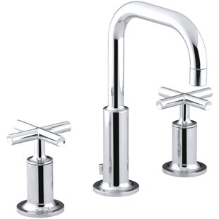 Inexpensive Purist Widespread Bathroom Sink Faucet with Low Cross Handles and Low Gooseneck Spout ByKohler