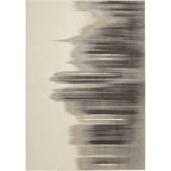 Stephengould Tidal Drift Sand/Charcoal Area Rug by Brayden Studio
