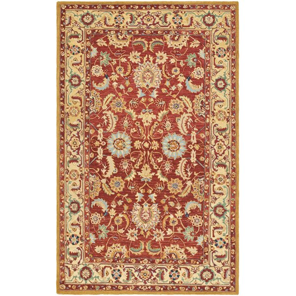Helena Hand-Hooked Wool Red/Ivory Area Rug by Charlton Home