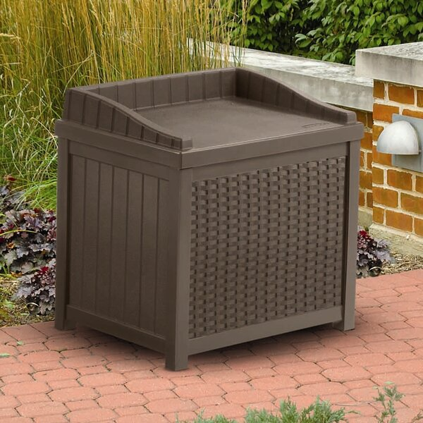 Outdoor 22 Gallon Resin Plastic Wicker Storage Bench by Suncast