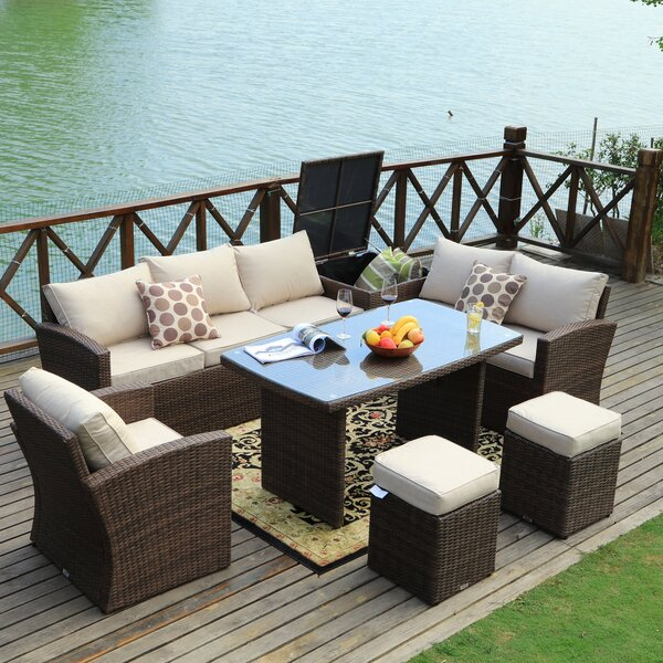 Benedetti 7 Piece Rattan Sofa Seating Group with Cushions by Latitude Run