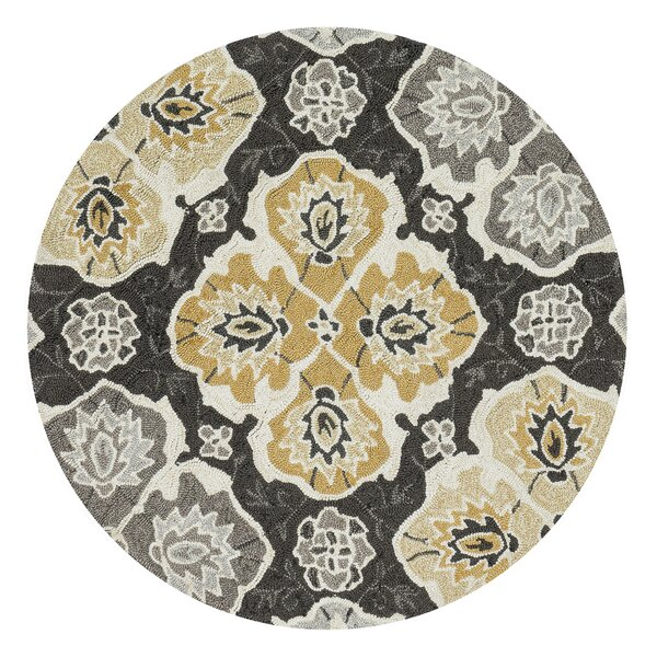 Kips Bay Hand-Hooked Black/Gray/Beige Area Rug by Charlton Home