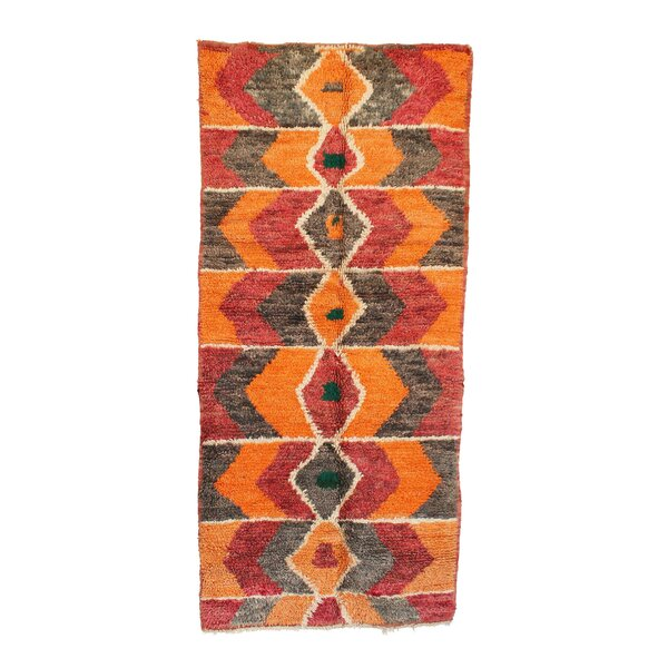Moroccan Vintage Boujad Hand Knotted Wool Orange/Red/Gray Area Rug by Indigo&Lavender