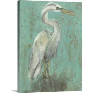 'Seaspray Heron I' by Jennifer Goldberger Painting Print on Wrapped Canvas by Great Big Canvas