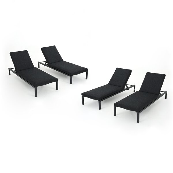 Molnar Reclining Chaise Lounge with Cushion (Set of 4) by Latitude Run