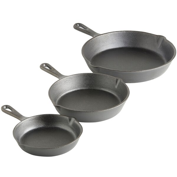 Pre-seasoned Cast Iron 3 Piece Non-Stick Skillet S