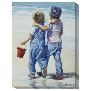 'Beach Boys' by Lucelle Raad Framed Oil Painting Print on Canvas in Blue/White by Global Gallery